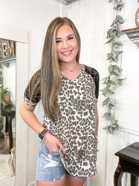 Leopard & Lace Sleeve Top