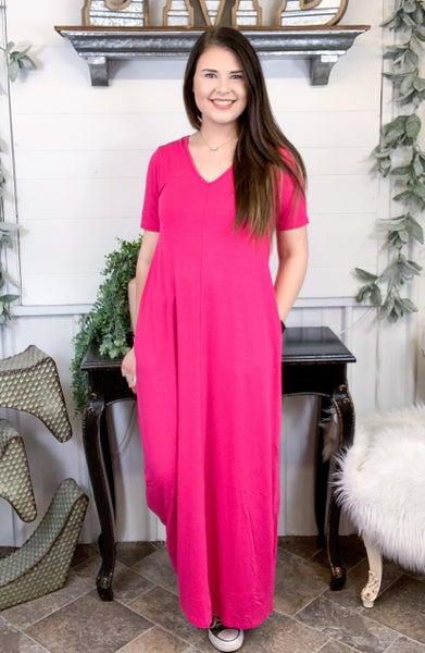 Hot Pink V-Neck Maxi Dress*