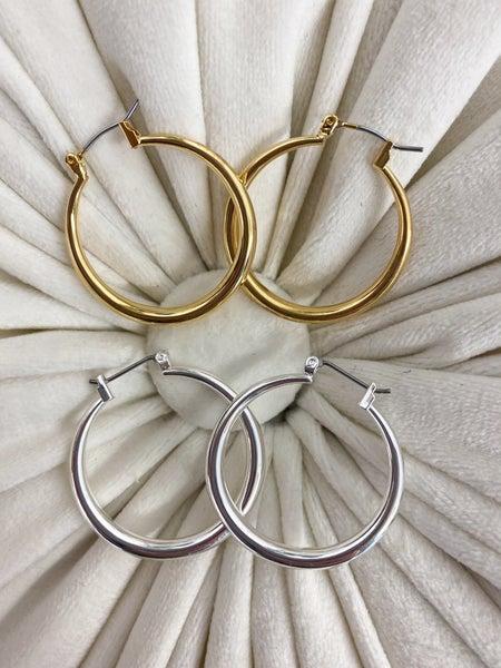 Tapered Hollow Hoop Earrings*