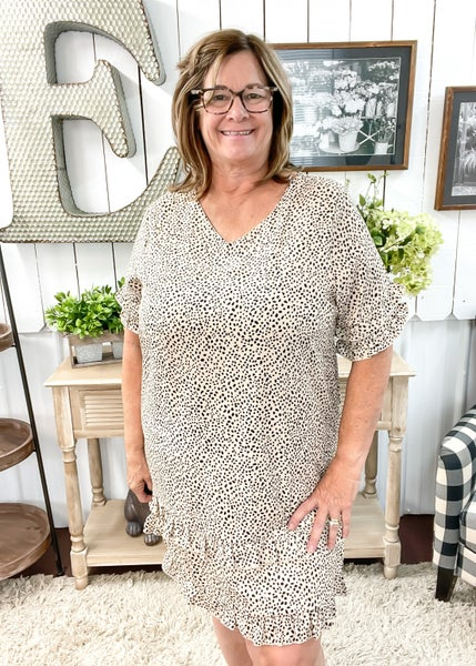 Cream Animal Print Layered Ruffle Dress