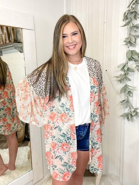 Apricot Floral & Leopard Kimono