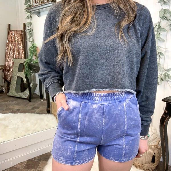 Blue Acid Wash Shorts (ONLINE ONLY)*