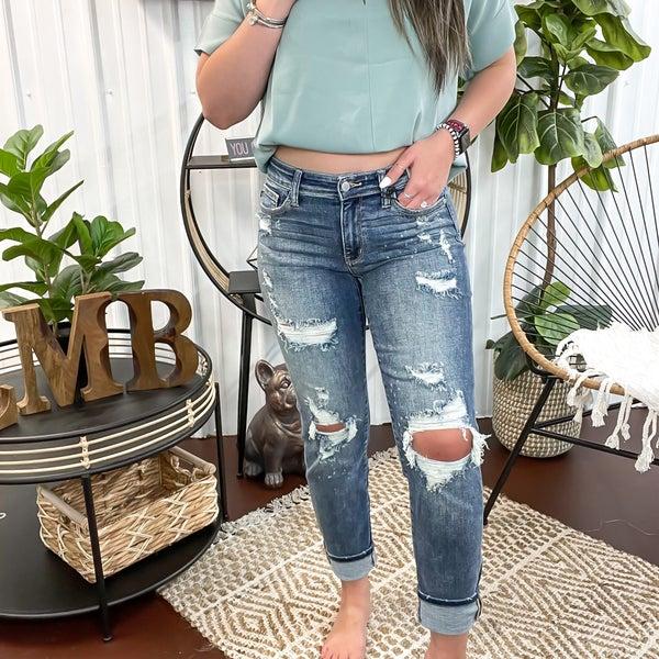 Judy Blue Splatter Boyfriend Jeans - JB82363
