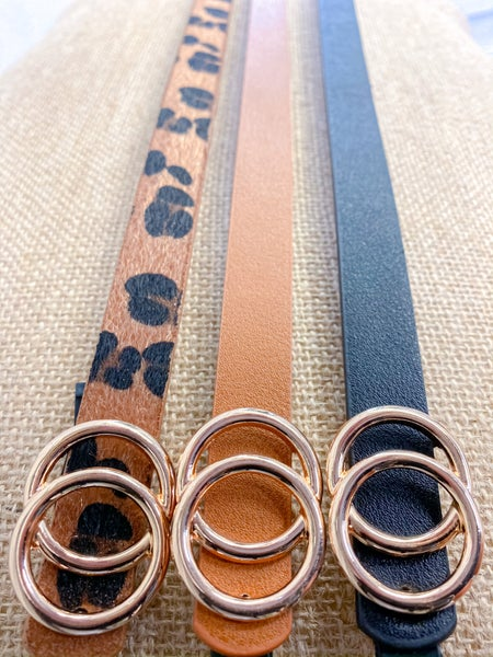 Faux Leather Skinny Fashion Belt - Set of 3