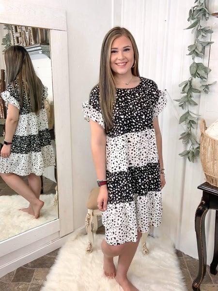 Black & White Leopard Spot Dress (ONLINE ONLY)*