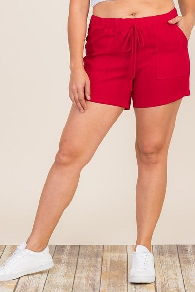Red Linen Patch Pocket Shorts