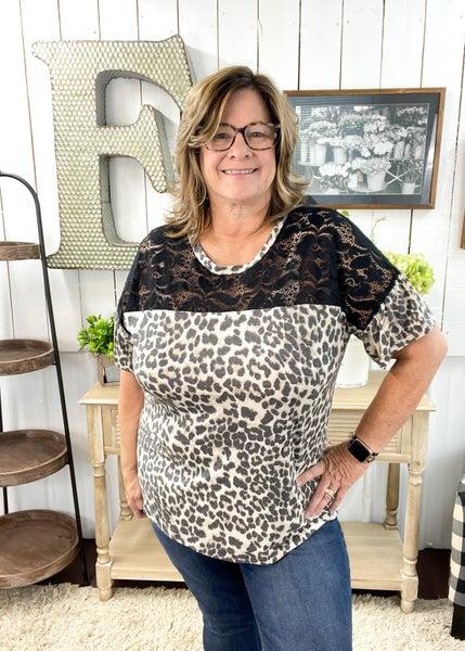Lace Neck & Animal Print Top