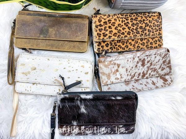 Myra Hairon and Leather Wristlet Wallet