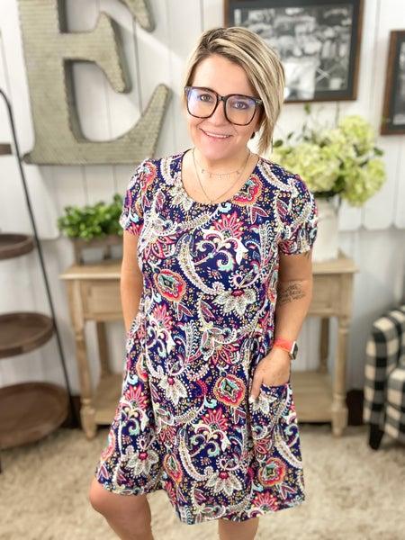 Navy & Turquoise Paisley Mini Dress
