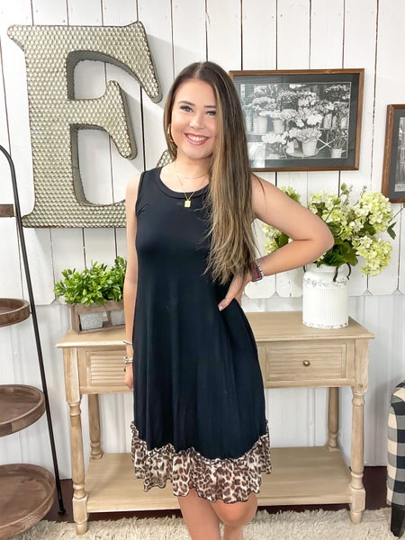Black Sheer Animal Print Ruffle Dress