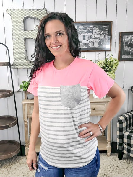 Heather Grey Stripes & Hot Pink Top - ALL SALES FINAL -