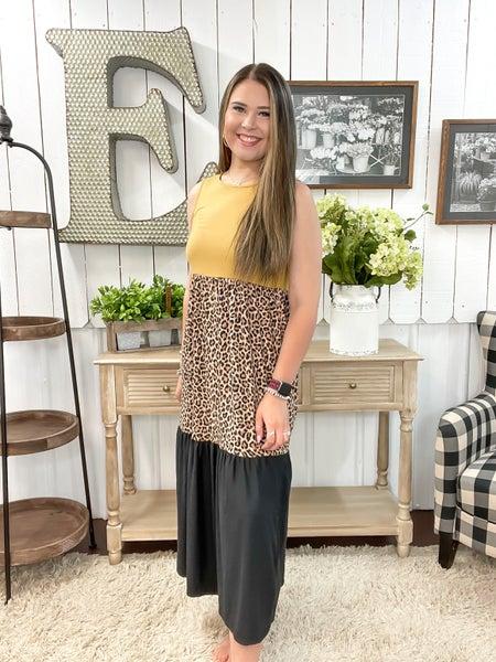Mustard & Leopard Color Block Midi Dress