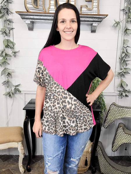 Taupe Leopard Color Block Top