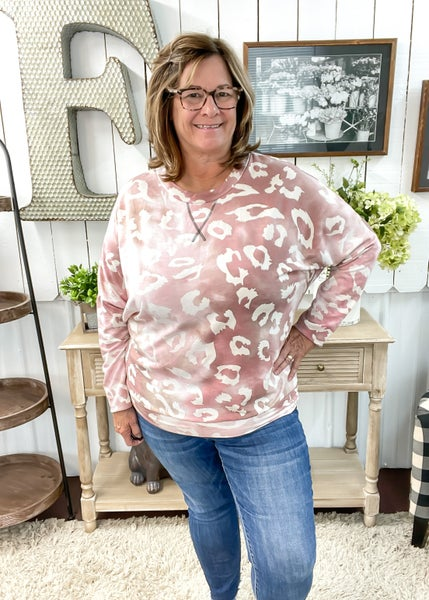 Mauve Animal Print Dolman Sweatshirt