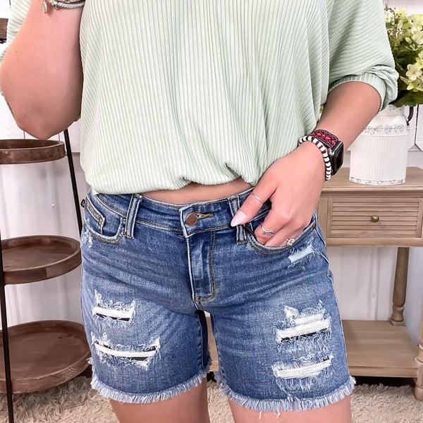 Judy Blue Mid Rise Patch Shorts-JB15206MD
