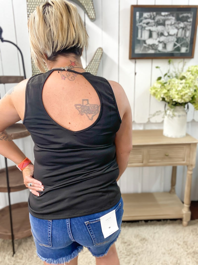 Black Embroidered Open Back Top