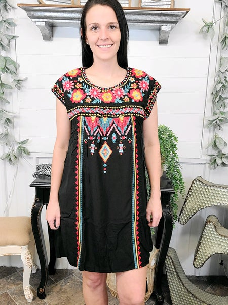 Black Aztec & Floral Embroidered Dress