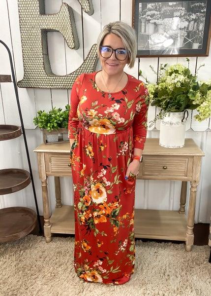 Rust Floral Maxi Dress