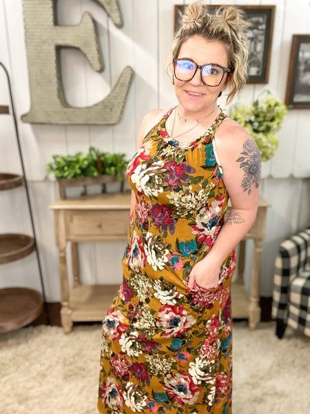 Mustard Floral Halter Maxi Dress