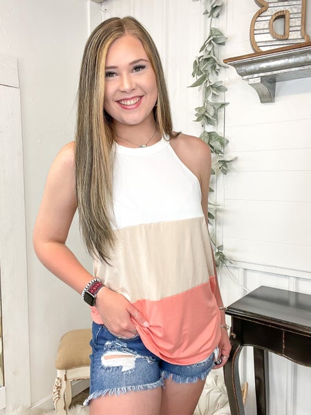 Taupe & Coral Color Block Halter Top