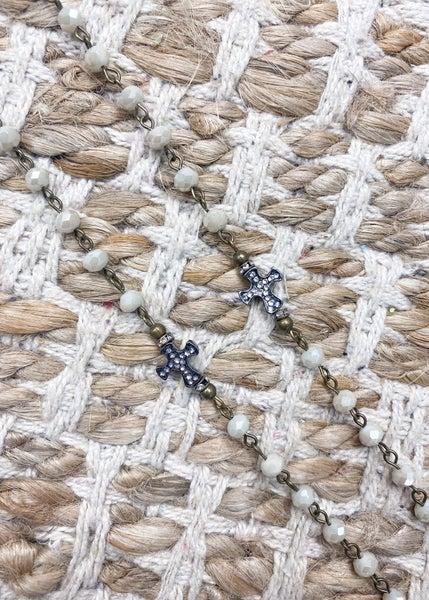 Charly's Treasures-Venice Bead & Cross Necklace