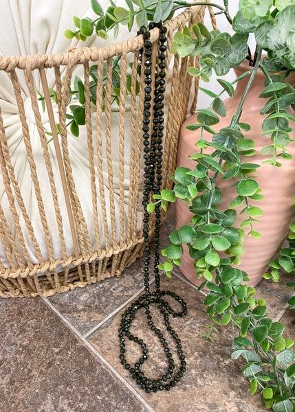 Deep Olive Crystal Skinny Bead Necklace