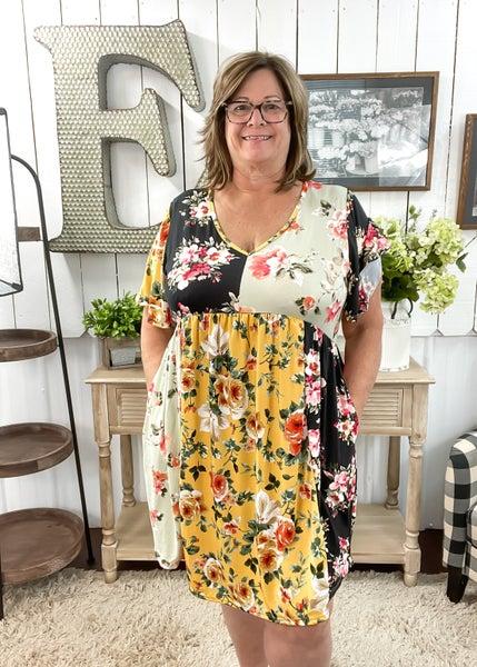 Sage & Honey Floral Flutter Dress
