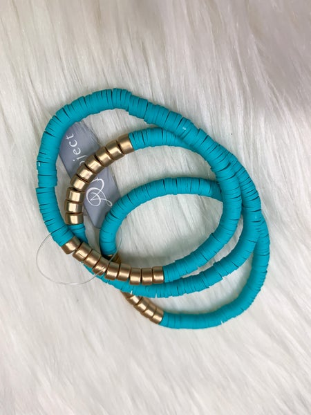 Turquoise Heishi Disc Bracelet Set