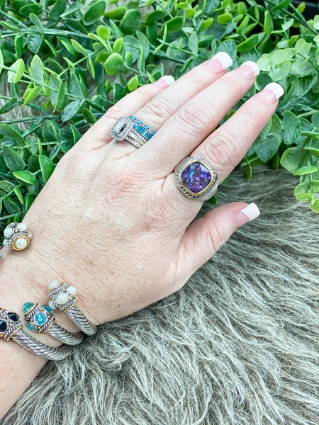 Amethyst Cable Cocktail Ring