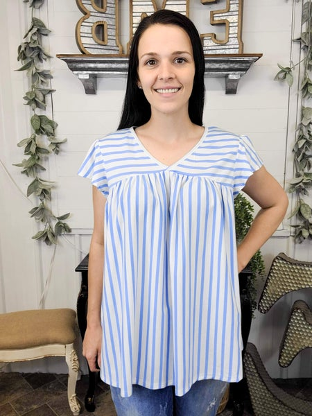 Blue & White Stripe Baby Doll Top