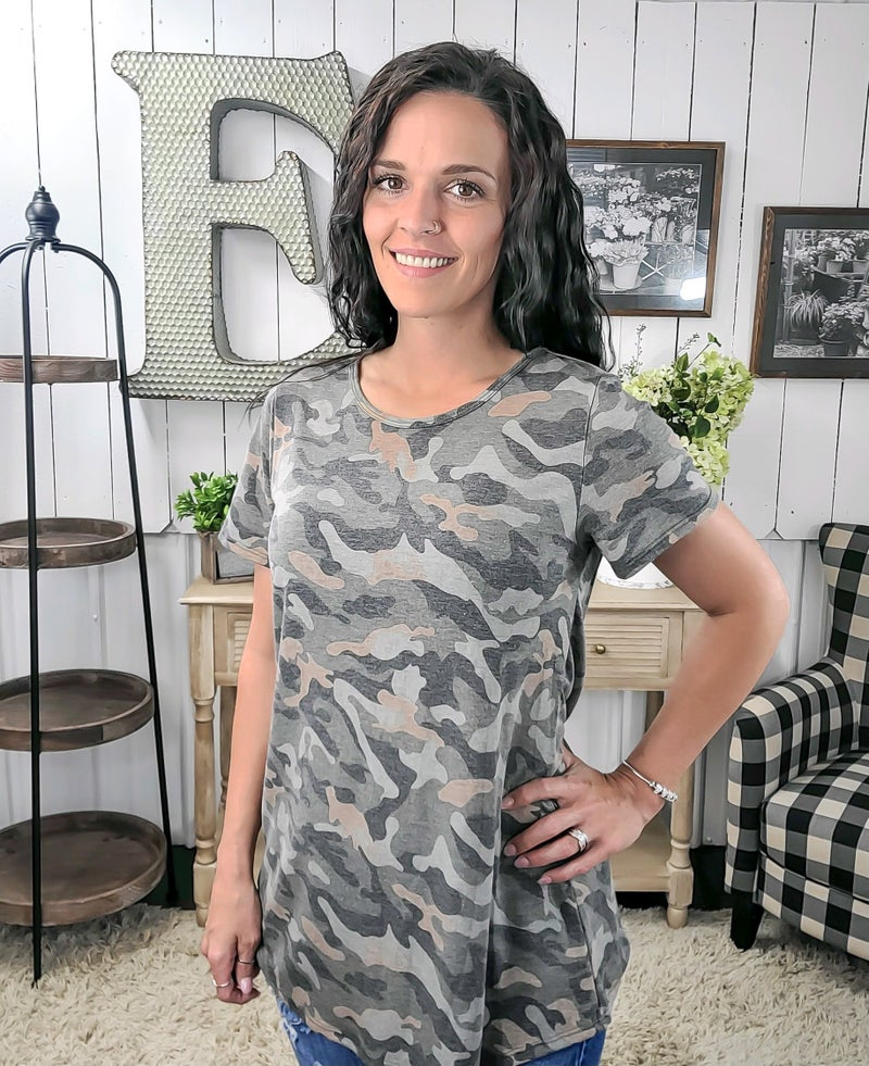 Olive Camo Casual Top