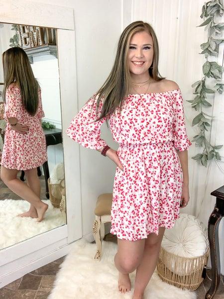 Lavender & Rose Leopard Off-The-Shoulder Dress