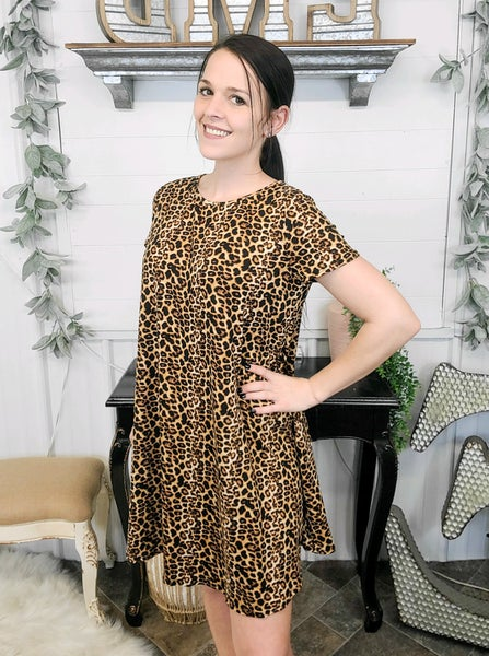 Tan Leopard Print Dress (ONLINE ONLY)*