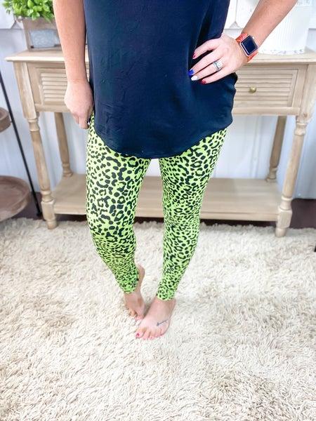 Lime Green Animal Print Leggings ALL SALES FINAL