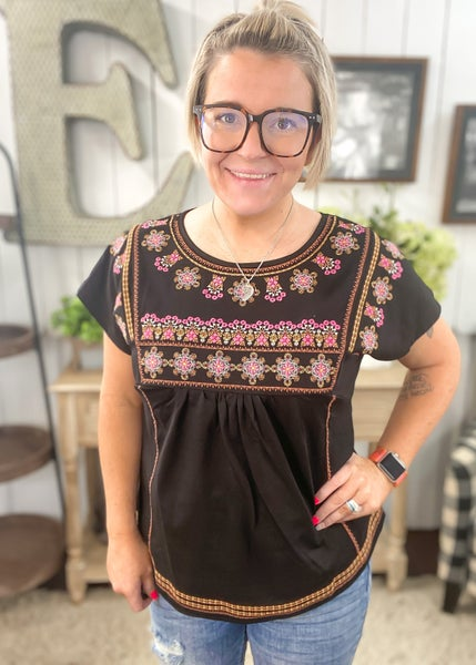 Black & Fuchsia Embroidered Top