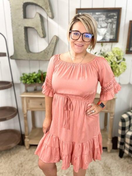 Peach Crochet Sleeve Off The Shoulder Dress