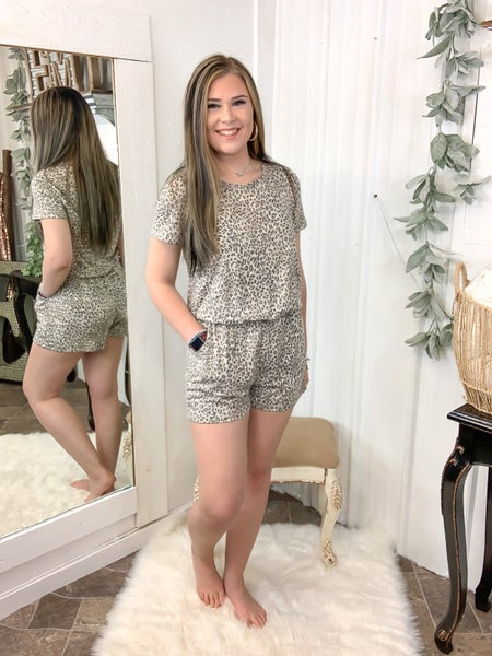 Taupe Leopard Romper (ONLINE ONLY)*