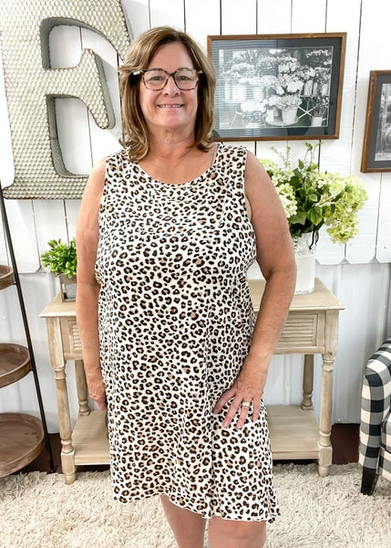 Cream Animal Print Split Side Dress ALL SALES FINAL