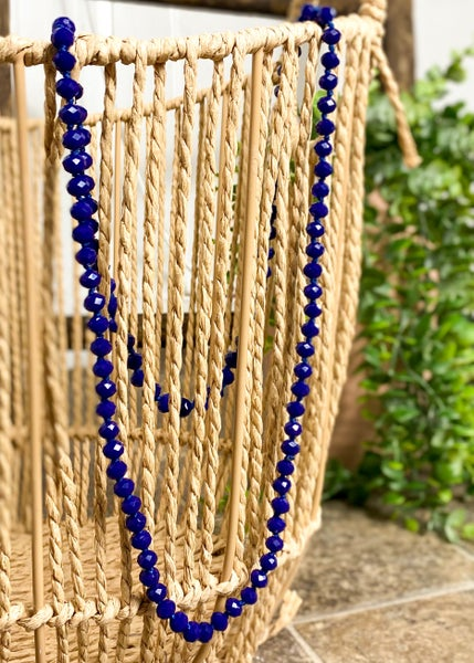 """Navy 36"""" Crystal Bead Necklace"""