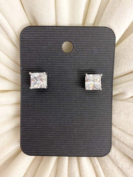 Square Cubic Zirconia Stud Earrings*