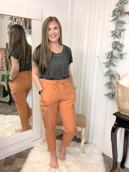 Orange Sherbet High Waist Cargo Pants {ONLINE ONLY}*