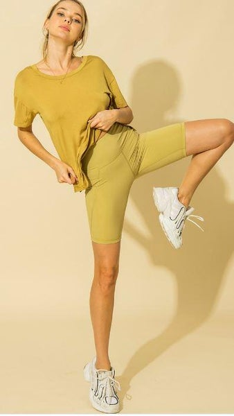 Golden Lime High Waist Side Pocket Biker Shorts*