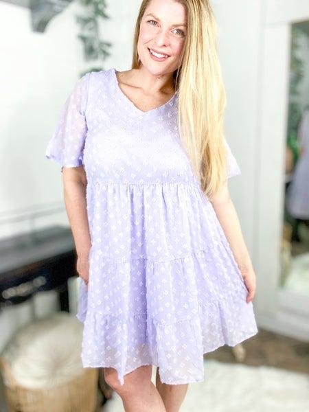 Lilac Swiss Dot Midi Dress