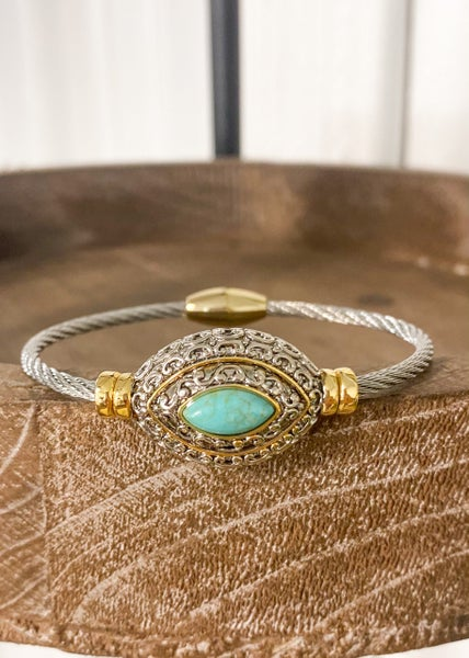 Spheroid Turquoise Cable Magnetic Cuff