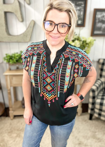 Black & Aztec Embroidered Top
