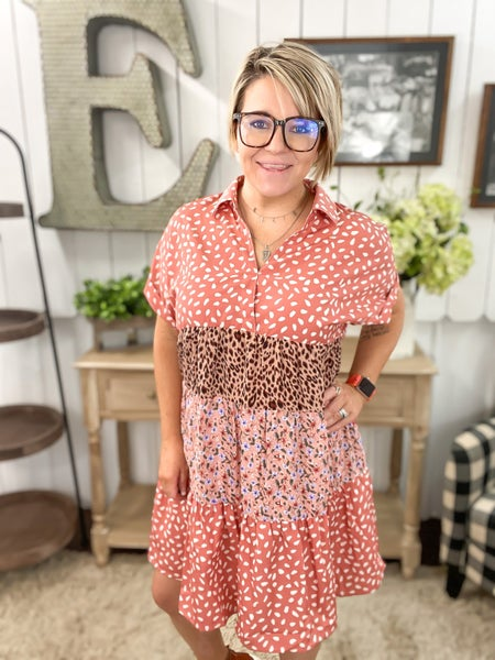 Salmon Leopard & Floral Baby Doll Dress