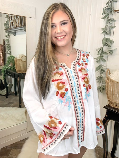 White Embroidered Bell Sleeve Top*