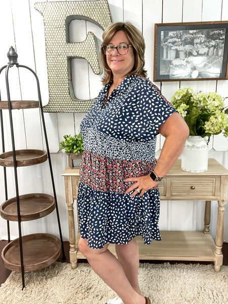 Navy Leopard & Floral Baby Doll Dress