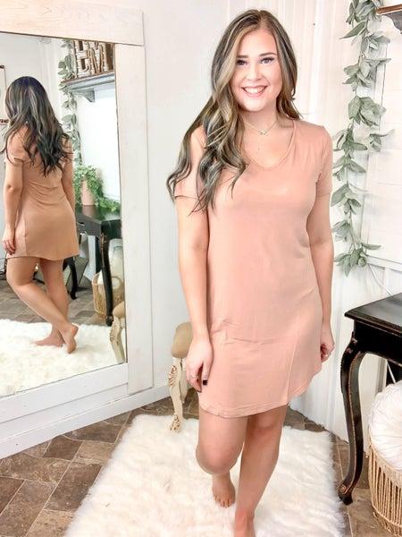 Peach Bloom Curved Hem Dress