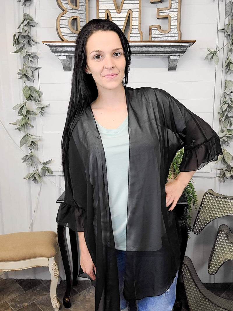Black Ruffle Sleeve Kimono